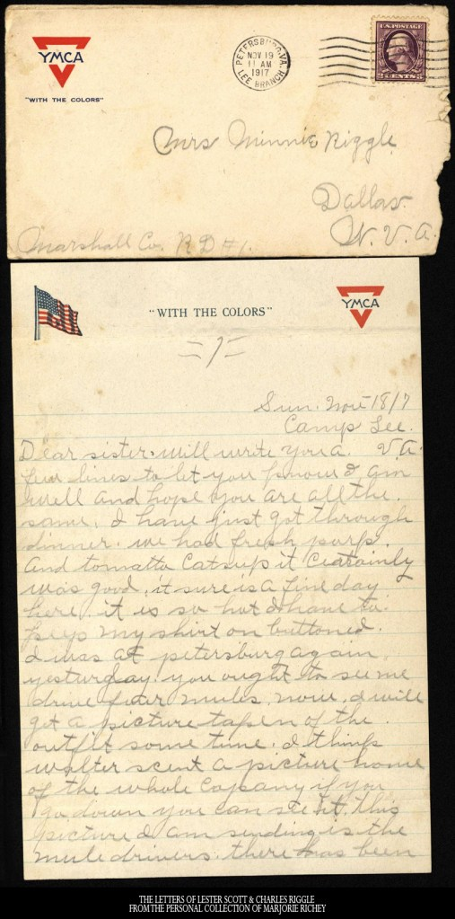 November 18, 1917: From Camp Lee to the Great War: The Letters of Lester Scott and Charles Riggle - From the personal collection of Marjorie Richey
