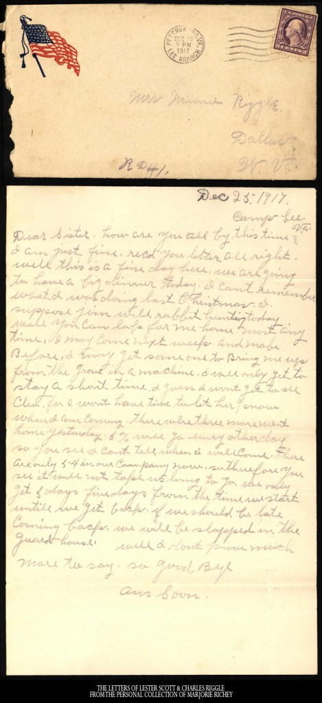 December 25, 1917: From Camp Lee to the Great War: The Letters of Lester Scott and Charles Riggle - From the personal collection of Marjorie Richey