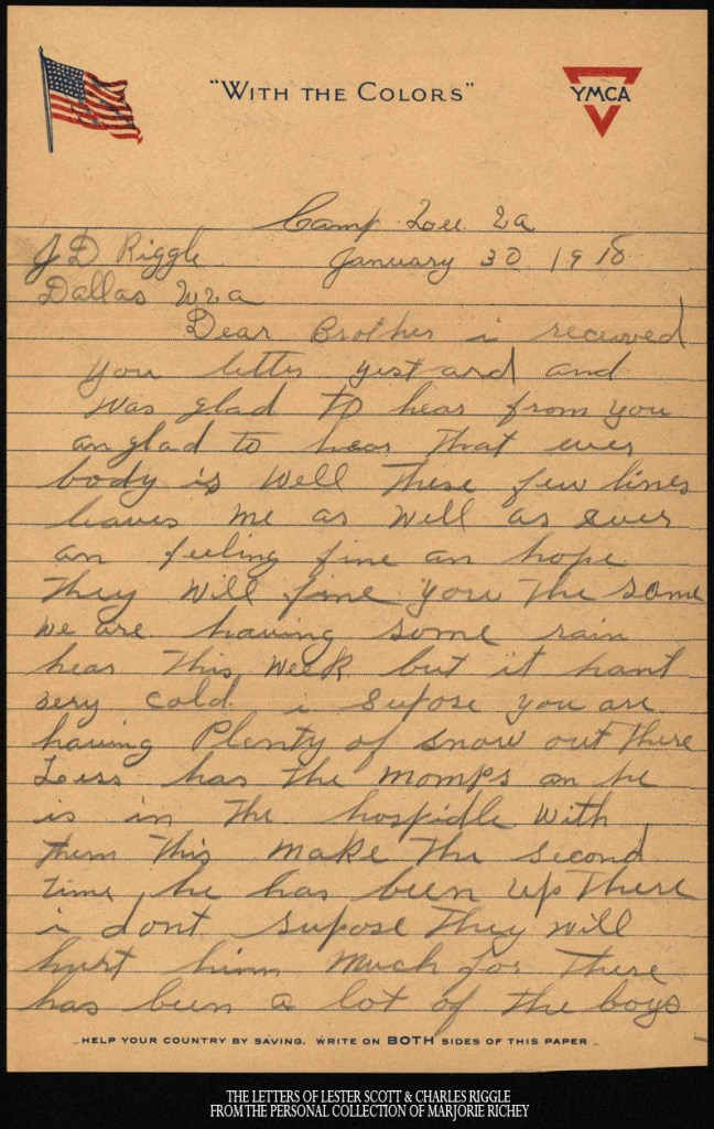 January 30, 1918: From Camp Lee to the Great War: The Letters of Lester Scott and Charles Riggle - From the personal collection of Marjorie Richey