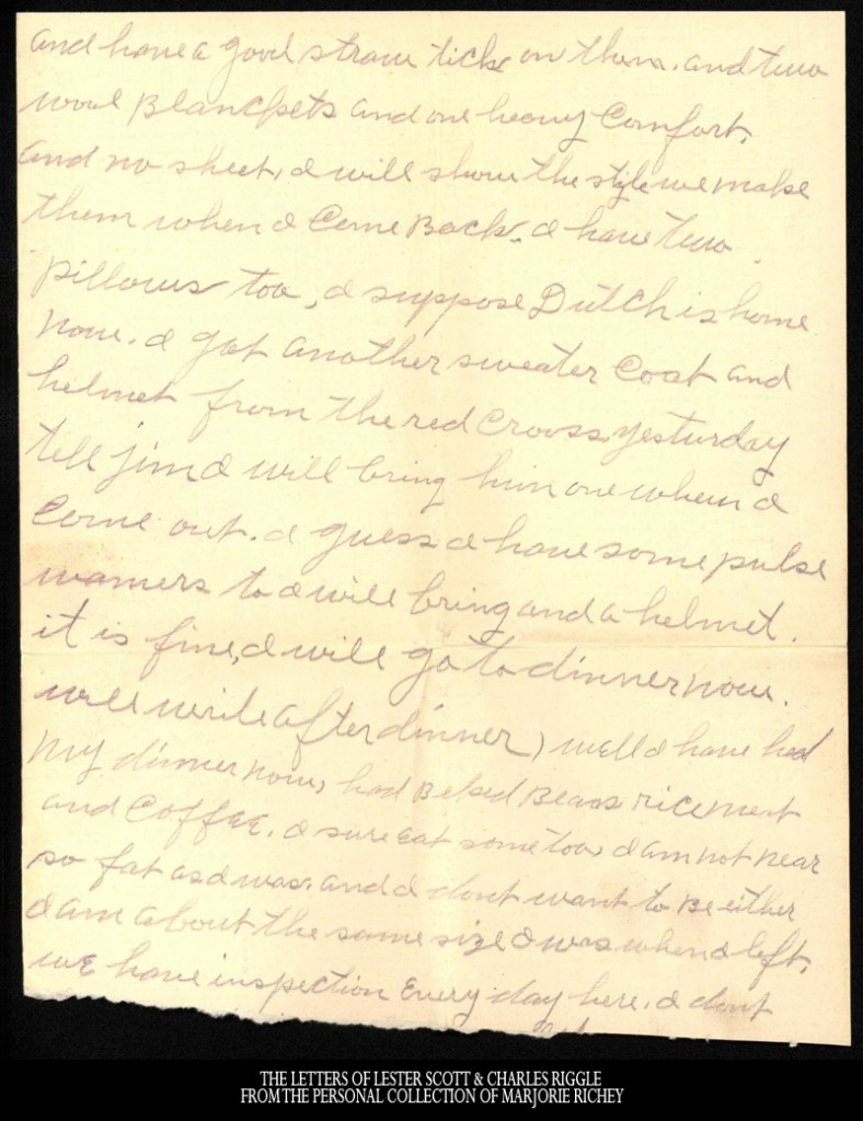 Letter to Minnie Riggle from Lester Scott, February 1, 1918.