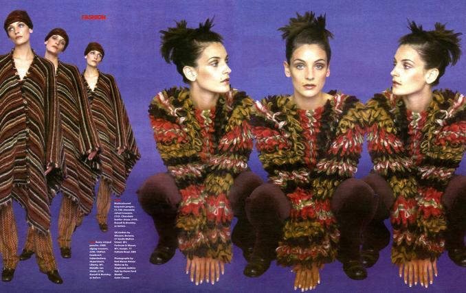 1996 THE TIMES MAGAZINE righe per il poncho e effetto pelliccia multicolor