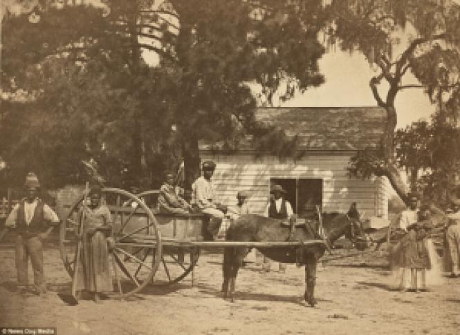 El sistema esclavista en Estados Unidos. Familia de esclavos.