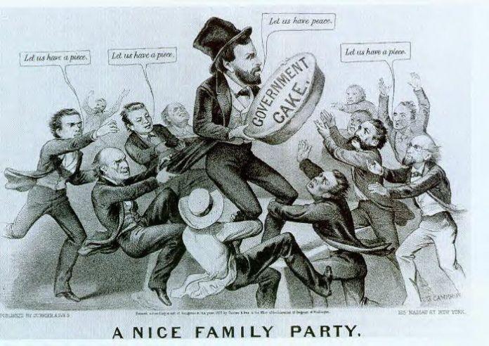 Currier & Ives (1872), A Nice Family Party (en relación al llamado spoils system que mostraba toda una red clientelar).