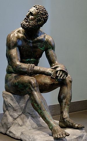 estatua púgil en reposo