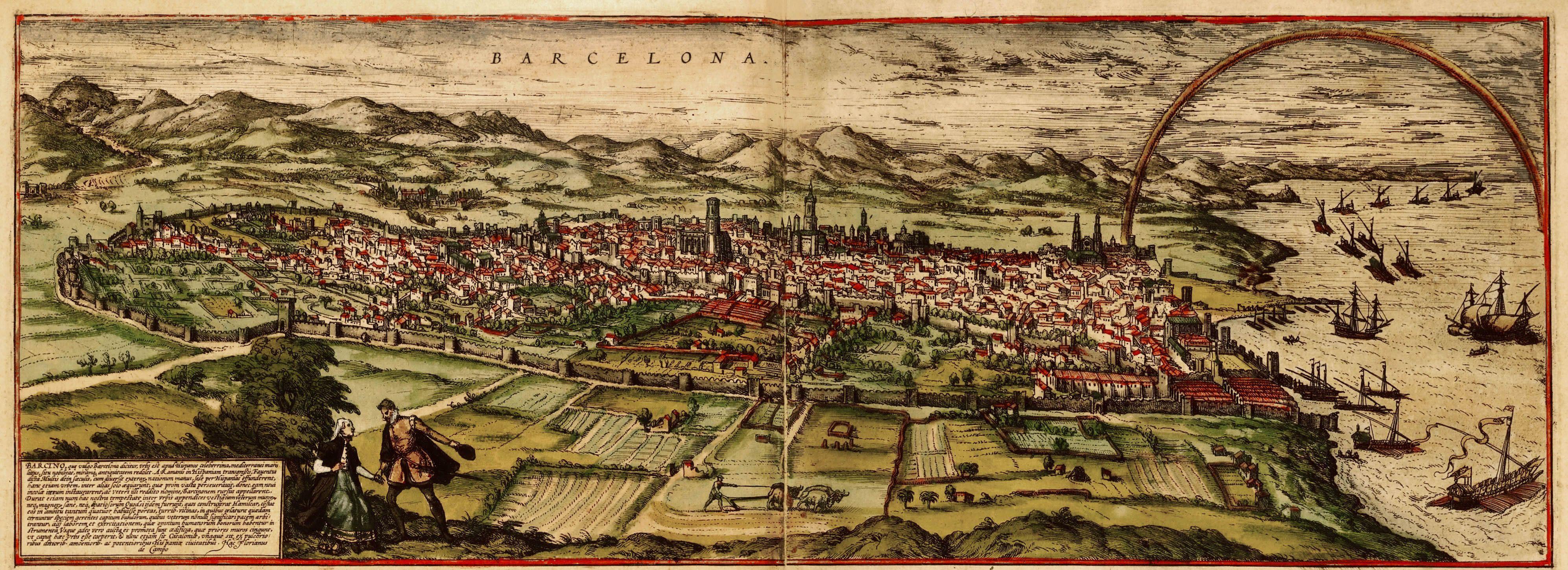 Batalla de Montjuic. Barcelona des del cim de la muntanya. Gravat de finals del segle XVI