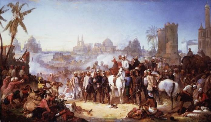 La liberación de Lucknow del motín de cipayos de 1857, por Thomas Jones Barker
