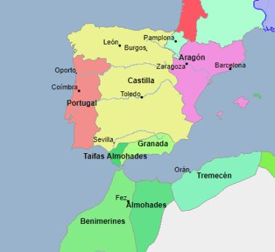 Mapa de la situación peninsular en 1250, dos años antes de la muerte del monarca. Donde podemos observar, los ya unificados reinos de Castilla y León, y los avances de la reconquista, con los musulmanes reducidos al reino de Granada. Fuente: Geacron