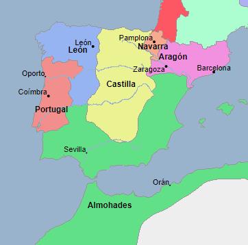Mapa de la situación peninsular en el momento de la llegada al trono castellano de Fernando III (1217). Fuente: Geacron
