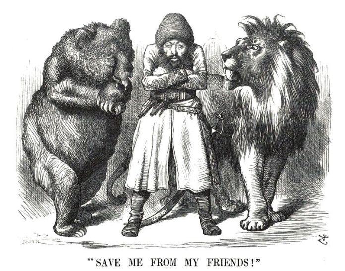 """Sir John Tenniel """"Emir Sher Ali con sus amigos, el oso ruso y el león británico"""" (1878) revista Punch."""
