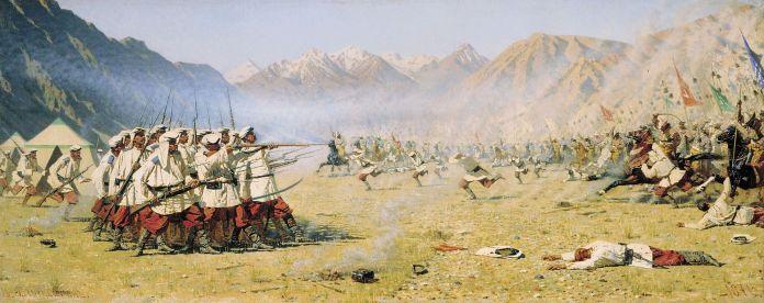 "Vasili Vasílyevich Vereshchaguin, ""Ataque repentino"" (1871) óleo sobre lienzo. Tretyakov Gallery, Moscú."