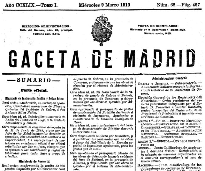 Ejemplar del BOE del 8 de marzo de 1910