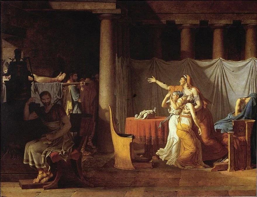 Los lictores llevan a Bruto los cadáveres de sus hijos