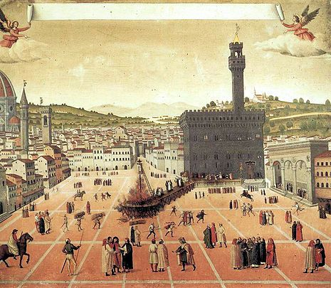 Ejecución de Savonarola en en la Piazza della Signoria (Anónimo, 1498)