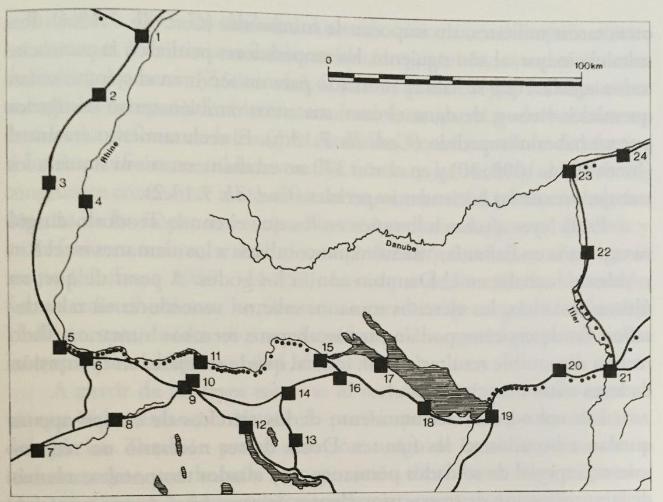 Fig. 6. Propuesta del limes Danubio-Iller-Rin a mediados del siglo IV. Dibujo realizado por G. Stobbs. Los restos numerados corresponden a los siguientes: 1. Estrasburgo (Argentorate); 2. Ehl (Helvetum). 3. Horburg (Argentovaria). 4. Breisach (Brisiacum); 5. Basilea (Basilia); 6. Kaiseraugst (Castrum Rauracense); 7. Soleura (Salodurum); 8. Olten. 9. Altenburgo. 910. Windisch (Vindonissa); 11. Zurzach (Tenedo); 12. Zúrich (Turicum); 13. Irgenhausen. 14. Winterthur (Vitudurum); 15. Burg (Tasgaetium); 16. Pfyn (Ad Fines). 17. Constanza. 18. Arbon (Arbor Felix). 19. Bregenza (Brigantium). 20. Bettmauer Vemania). 21. Kempten (Cambodunum); 22. Kellmünz (Caelis Mons); 23. ¿Febiana? 24. Gunzburgo (Guntia). Fuente: SOUTHERN, Pat y DIXON, Karen. R.: El ejército romano del Bajo Imperio…, p. 65.