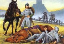 Representación de dos caballeros normandos en Inglaterra a finales del siglo XI