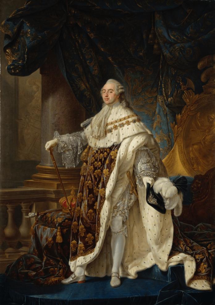 Retrato de Luis XVI por el pintor de la Corte francesa Calle Antoine-Françoise, 1778-1779. El monarca aparece vestido con ricos y presuntuosos ropajes para destacar su poder, con una mirada directa cargada de aires de superioridad. Tanto el fondo como su ropa está decorada con tonos dorados, azules y blancos, símbolos del poder divino y del absolutismo.