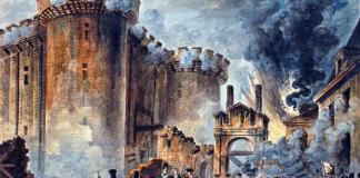 La toma de la Bastilla, Jean-Pierre Houël, 1789. La fortaleza se halla sitiada por los cañones de la guardia francesa, que apuntan directamente a sus puertas soltando un denso humo que emborrona la escena.