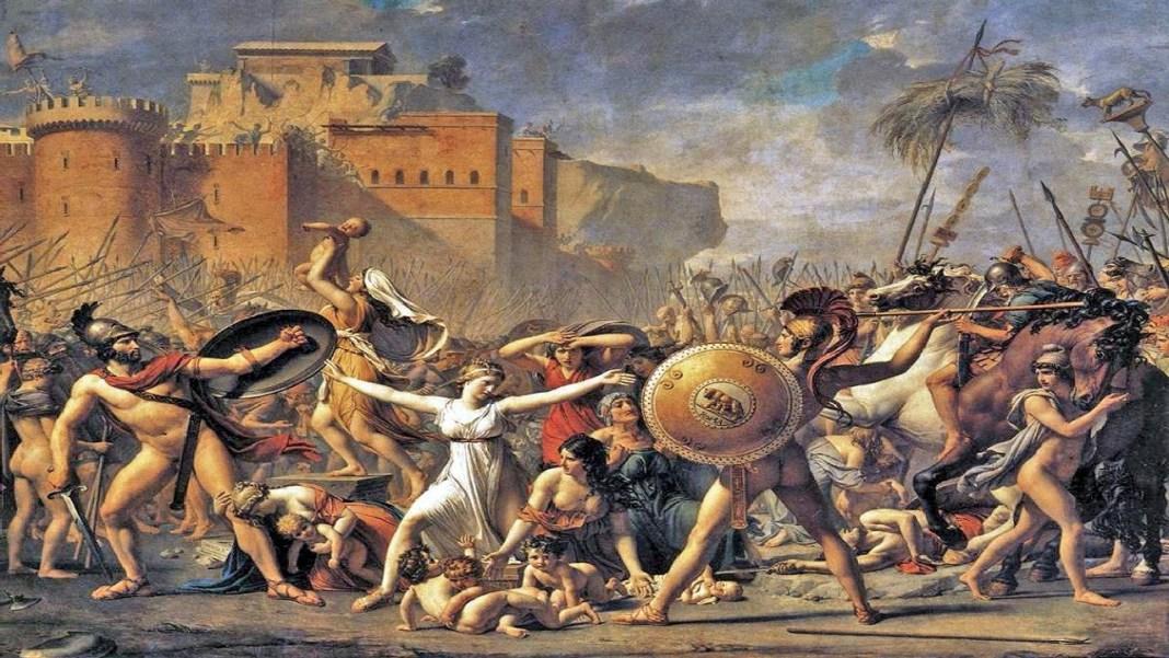Las sabinas se interponen entre sus padres y sus maridos. Esto ocurrió durante la Monarquía romana.