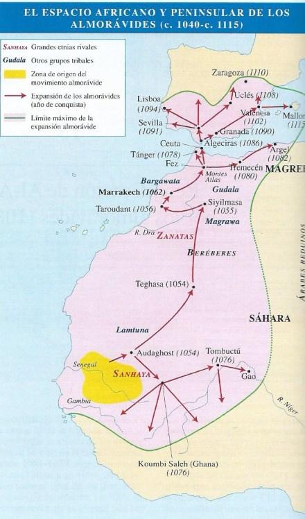 Mapa que representa el poderío almorávide en su máxima expansión