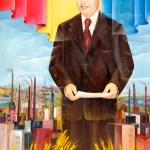 Óleo que muestra a Nicolae Ceușescu en pie frente a emergentes fábricas y tras unos fértiles campos de trigo.