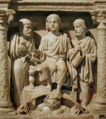 """Detalle sarcófago cristiano """"Iunius Bassus"""". Siglo IV. Roma."""