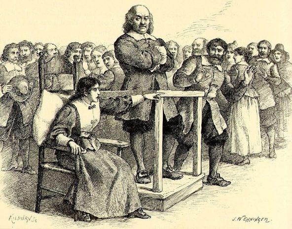 Ilustración basada en los juicios de Salem (realizada John W. Ehniger, 1902) por en la que Mary Walcott señala a uno de los acusados, probablemente narrando los males que este habría causado.