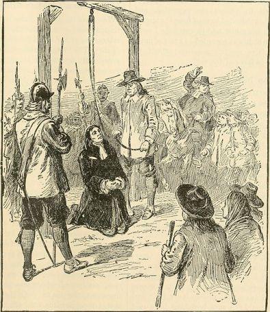 Ilustración que recrea el asesinato del pastor Burroughs (Henry Davenport, 1901). En el aparecen el reverendo arrodillado junto al verdugo que sujeta la horca que le pondrá en cualquier momento, ambos aparecen rodeados por una muchedumbre.