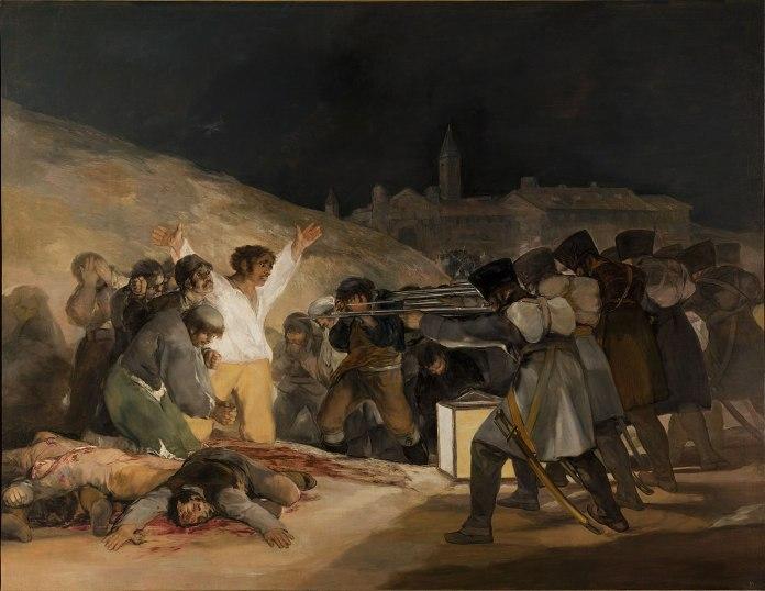 La otra cara de la moneda tras el alzamiento del 2 de mayo. Los fusilamientos del 3 de mayo, cometidos por los franceses sobre los sublevados del día anterior. Esta represión fue un paso más para el definitivo alzamiento del pueblo español.