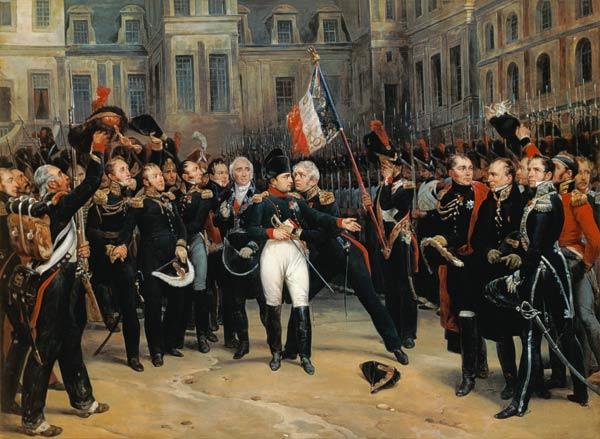 Napoleón despidiéndose de la guardia imperial en el Palacio de Fontainebleau, antes de marchar a la isla de Elba. Cuadro de Alphonse Montfort. Museo nacional de Versalles. (Guerras Napoleónicas)
