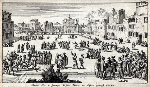 Mercado de esclavos de Argel (1684). Jan Luyken, Museo de Historia de Amsterdam