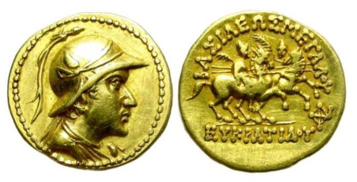 Moneda greco-bactriana datada del 165 a. C. con la efigie de Eucrátides quien llegaría a invadir la India