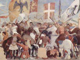 Detalle de la Leyenda de la Santa Cruz (Piero della Francesca, 1466). Colección de San Francesco, Arezzo.