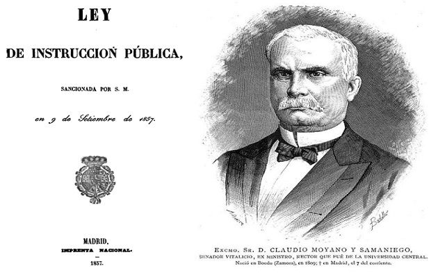 Claudio Moyano junto a la portada de la Ley de Instrucción Pública del 9 de septiembre de 1957. La Ley Moyano seguía vigente cuando Francisco Ferrer Guardia puso en marcha la Escuela Moderna
