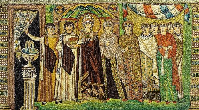 Retrato de la familia de Justiniano en San Vital de Rávena