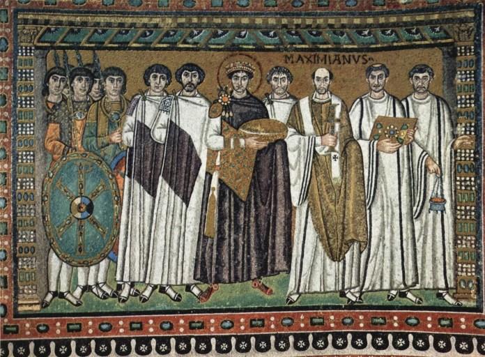 Justiniano I y su séquito. (c. 547). Anónimo, Iglesia de San Vital de Rávena, Italia.