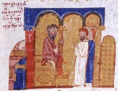 Entronización de Miguel Cerulario (Juan Skylitzes, s.XIII). Ilustración donde vemos al patriarca de Constantinopla en sus inicios.