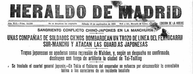 Invasión de Manchuria. Portada del Heraldo de Madrid
