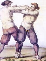 """Ilustración de dos hombres practicando la lucha """"Gouren"""" en 1778"""