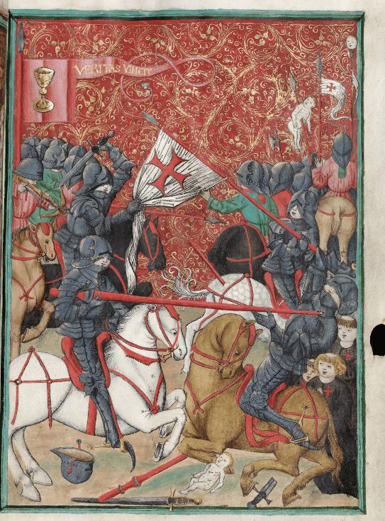 Batalla entre husitas y cruzados. guerras husitas. Códice de Jena. https://www.esbirky.cz/predmet/180453