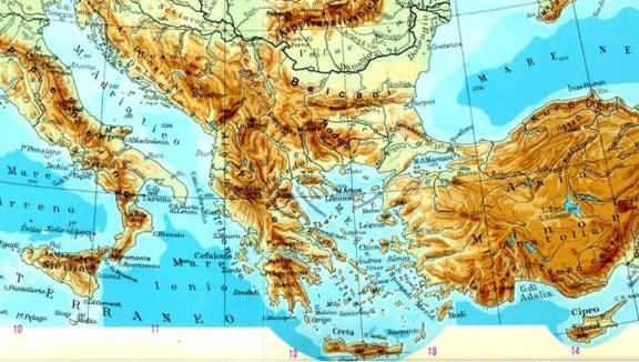 Mapa geográfico de oriente. Podemos ver la gran diferencia entre las tierras bajas (fértiles) y las altas. Autor desconocido.