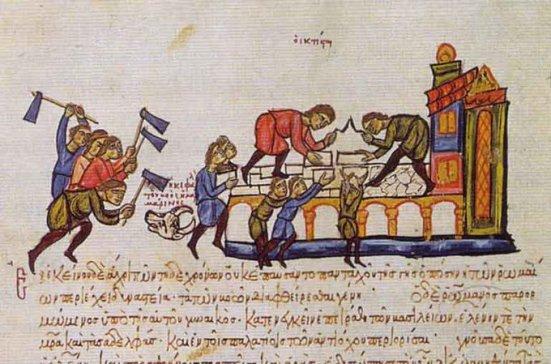 Construcción de un palacio en tiempos de Romano I Lecapeno en el Skylitzes Matritensis (s.XII)