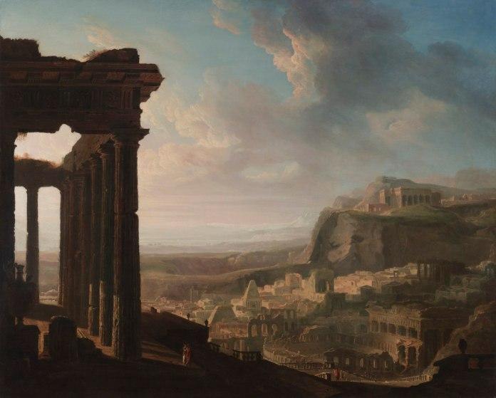 Ruinas de una ciudad Antigua. (1833). John Martin. La visión de la Tardoantigüedad se ha solido aducir generalmente a la caída del Imperio Romano de Occidente