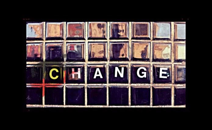 "Street art of word ""Change"""