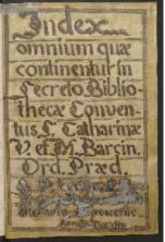 Catálogos manuscritos de Bibliotecas conventuales