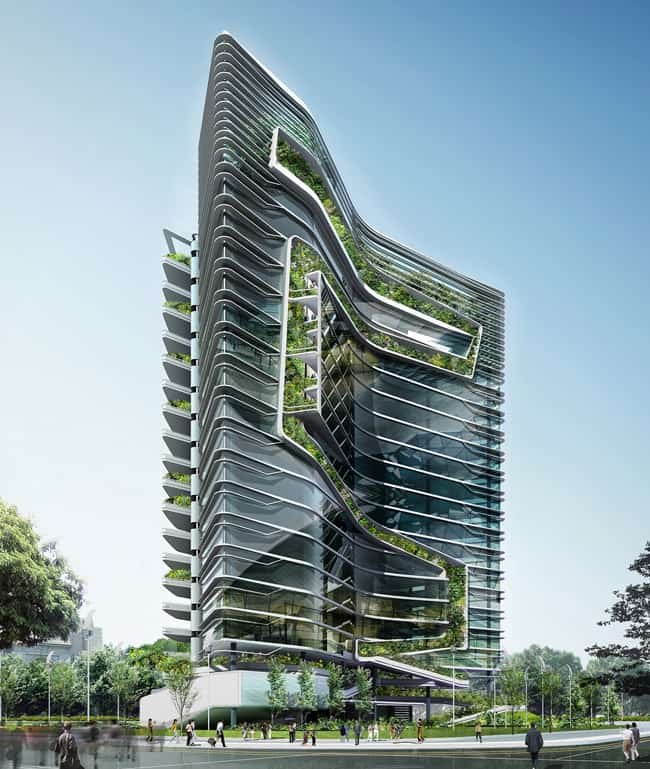 Ken yeang 39 s signature tower in india the grass is truly - Hightech architektur ...