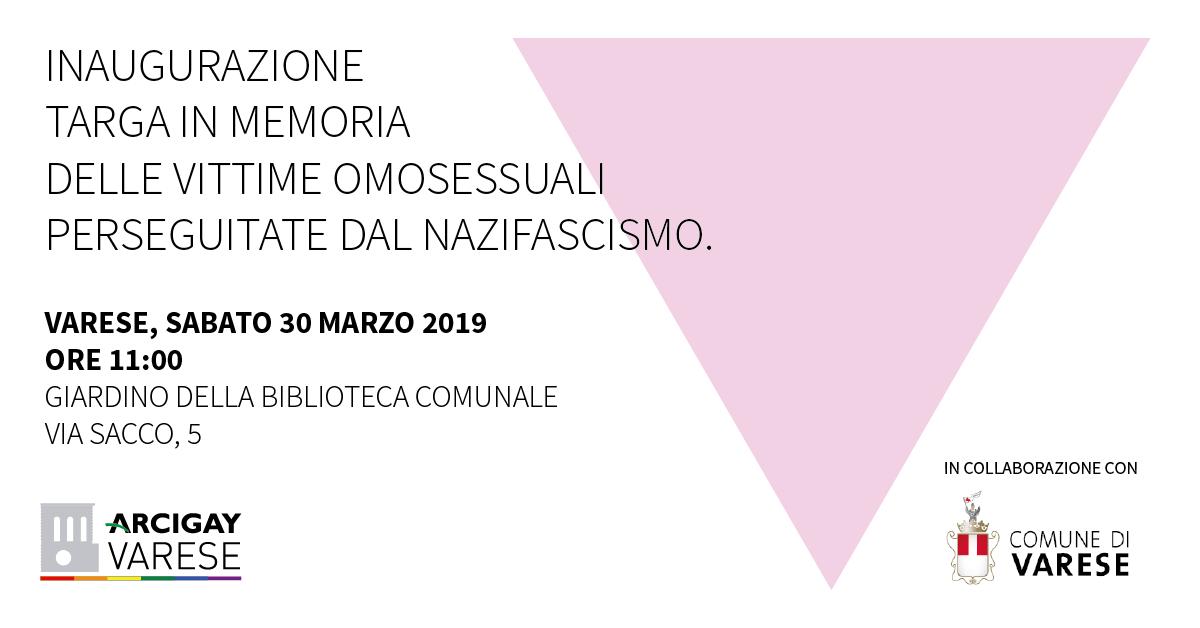 Varese, Sabato 30 marzo inaugurazione targa in memoria delle vittime omosessuali delle persecuzioni nazifasciste