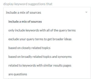 Display Moz Keyword Explorer: Keyword Drop-down Menu