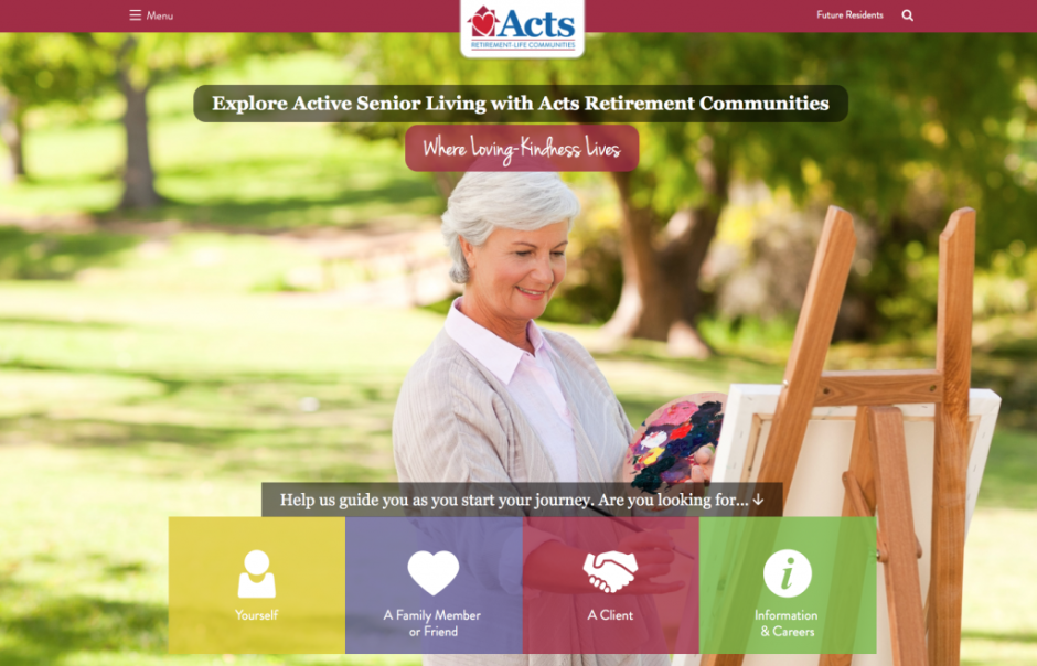 Homepage of Acts Senior Living Site