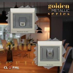 tv telephone sheet golden metallic clopal