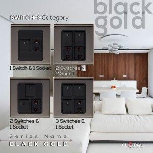 1 switch 1 socket black gold clopal